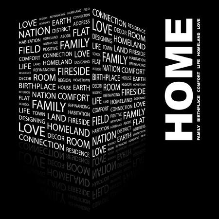 HOME. Wort Collage auf schwarzem Hintergrund. Abbildung.  Vektorgrafik