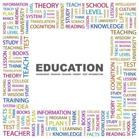 EDUCATION. Word collage on white background.  illustration. Stock Vector - 7330943