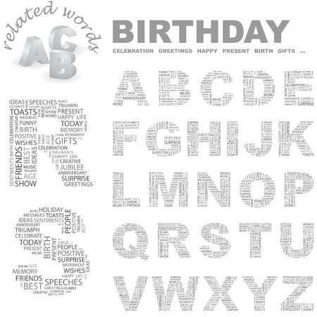wingding: BIRTHDAY. letter collection. Word cloud illustration.