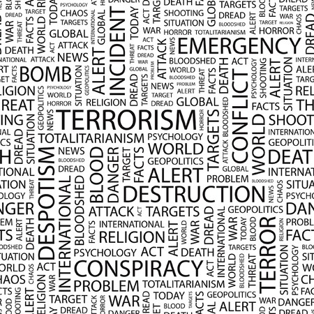 bloodshed: TERRORISM. Seamless  pattern with word cloud.