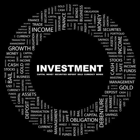 INVESTMENT. Word collage on black background. illustration. Stock Vector - 7331099