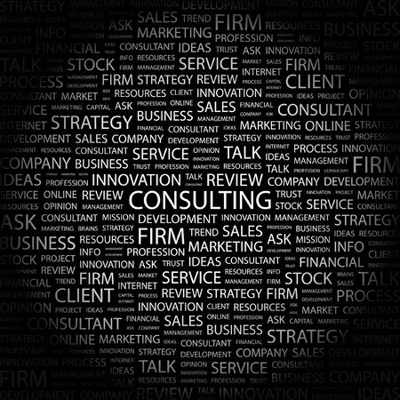 financial consultant: CONSULTING. Word collage on black background.  illustration.