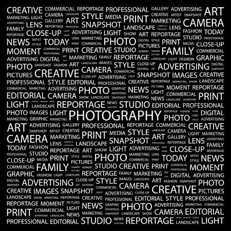 fotografi: FOTOGRAFIA. Parola di collage su sfondo nero. illustrazione.