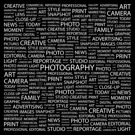 PHOTOGRAPHY. Word collage on black background. illustration.