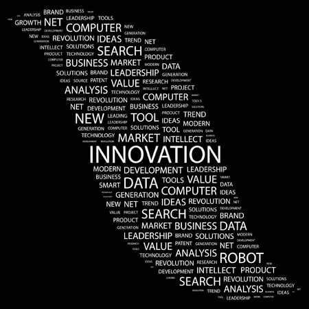 INNOVATION. Word collage on black background.  illustration.    Vector