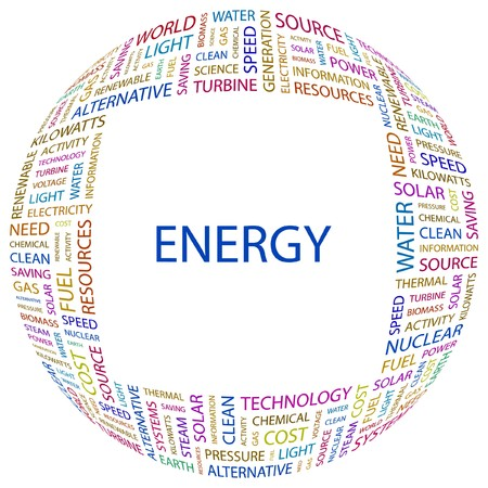 renewables: ENERGY. Word collage on white background. illustration.    Illustration
