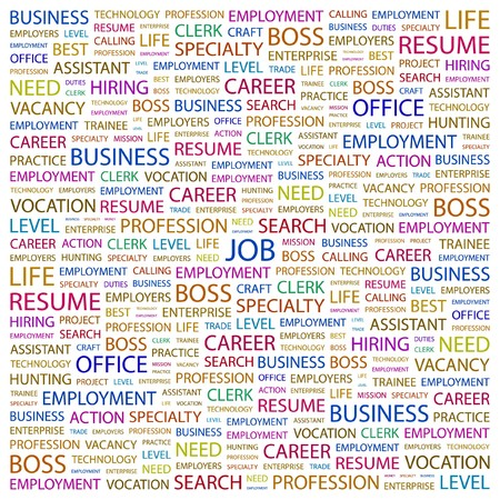 JOB. Word collage on white background.  illustration.    Vector