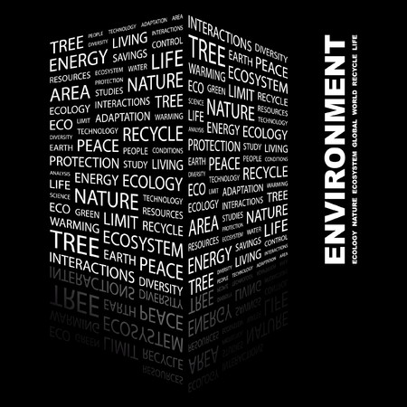 ENVIRONMENT. Word collage on black background. illustration.    Stock Vector - 7331306