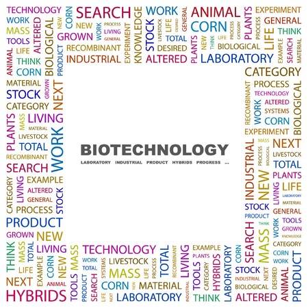 BIOTECHNOLOGY. Word collage on white background. illustration.    Vector