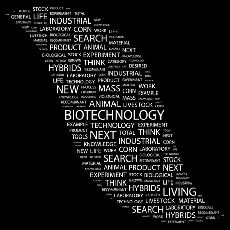 BIOTECHNOLOGY. Word collage on black background  illustration.    Vector