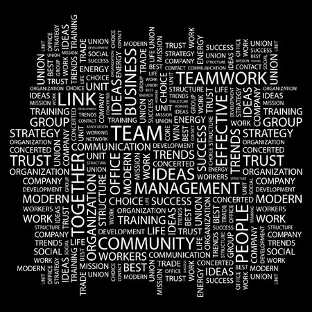 TEAM. Word collage on black background. illustration.    Vector