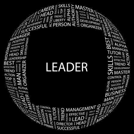 kingpin: LEADER. Word collage on black background. illustration.