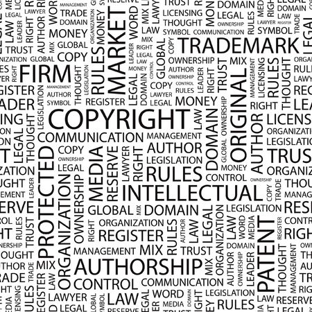 intellectual property: COPYRIGHT. Seamless  background. Word cloud illustration.   Illustration