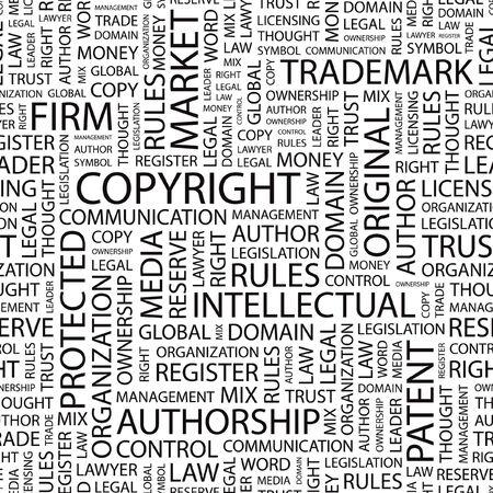 trademark: DERECHOS DE AUTOR. Fondo transparente. Ilustraci�n de la nube de Word.