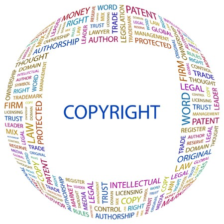 COPYRIGHT. Word collage on white background. illustration.    Stock Vector - 7331097