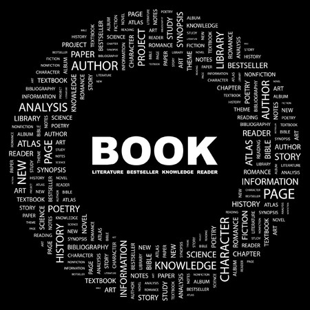 BOOK. Word collage on black background illustration.    Stock Vector - 7331098