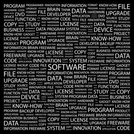 SOFTWARE. Word collage on black background. illustration. Stock Vector - 7331323