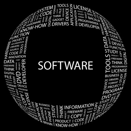 SOFTWARE. Word collage on black background. illustration.    Stock Vector - 7331093