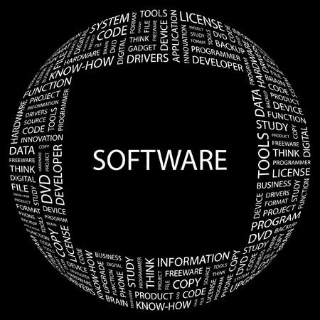 SOFTWARE. Word collage on black background. illustration.    Vector