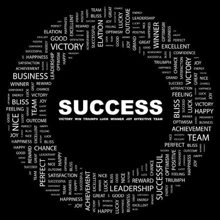 work popular: SUCCESS. Word collage on black background.  illustration.