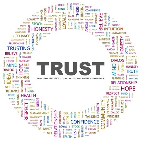 TRUST. Word collage on white background. illustration.