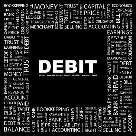 DEBIT. Word collage on black background.  illustration.    Stock Vector - 7330975