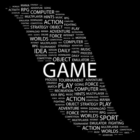 game design: GAME. Word collage on black background. illustration.