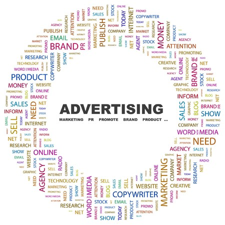 declare: ADVERTISING. Word collage on white background  illustration.
