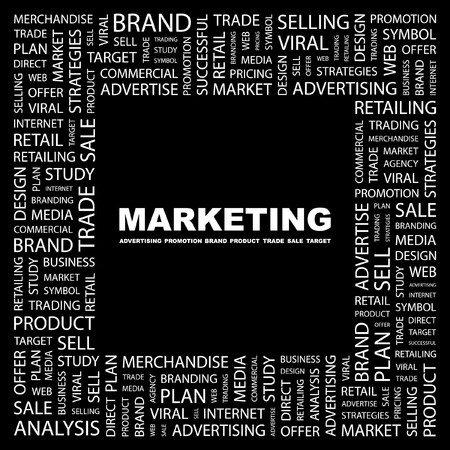 purchasing manager: MARKETING. Word collage on black background.  illustration.