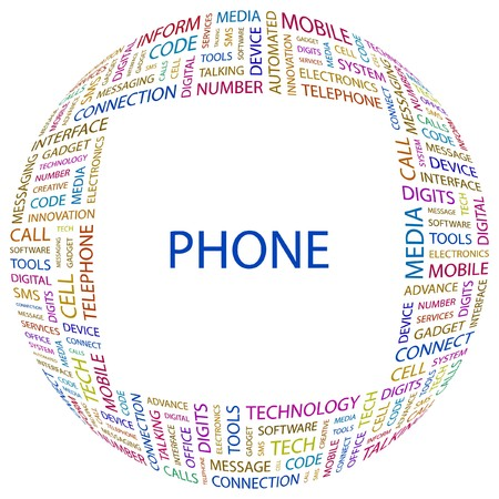 PHONE. Word collage on white background.  illustration.    Vector