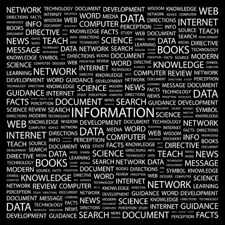cognizance: INFORMATION. Word collage on black background. illustration.    Illustration