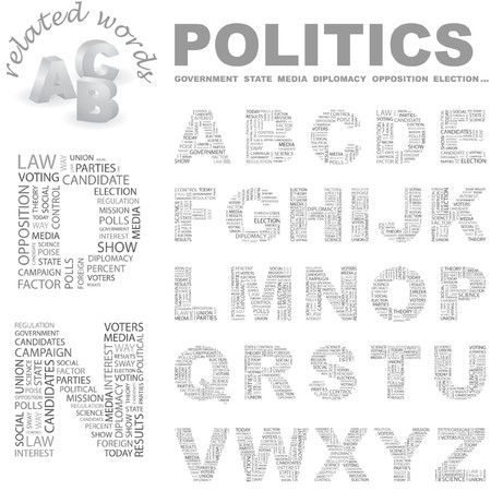 predominance: POLITICS.  letter collection. Word cloud illustration.