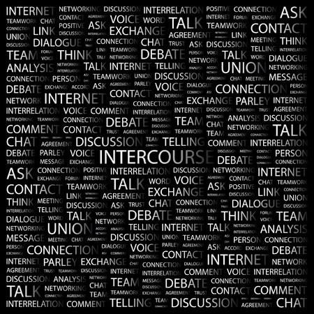 INTERCOURSE. Word collage on black background. illustration.    Vector