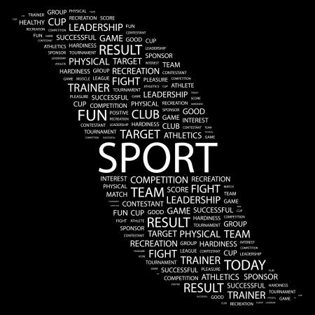 SPORT. Woord collage op zwarte achtergrond. illustratie.  Vector Illustratie