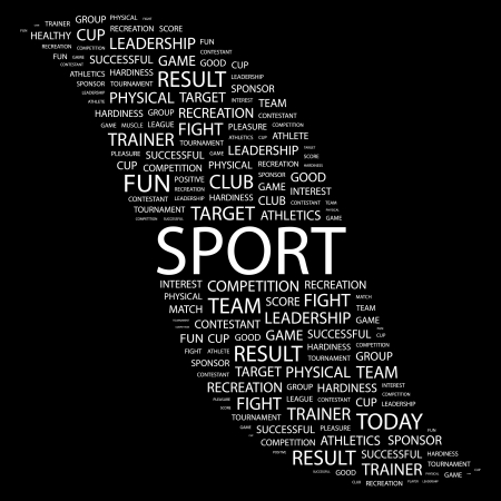 paper ball: SPORT. Word collage on black background. illustration.