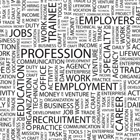lifework: PROFESSION. Seamless   pattern with word cloud.