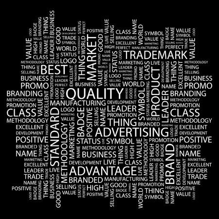 gesundheitsmanagement: QUALIT�T. Wort Collage auf schwarzem Hintergrund. Abbildung.  Illustration