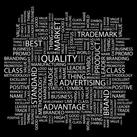 QUALITY. Word collage on black background. illustration.    Vector