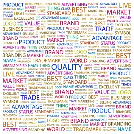 total: QUALITY. Word collage on white background.   illustration.