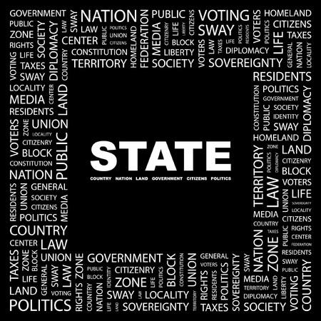 citizenry: ESTADO. Palabra collage sobre fondo negro. ilustraci�n.