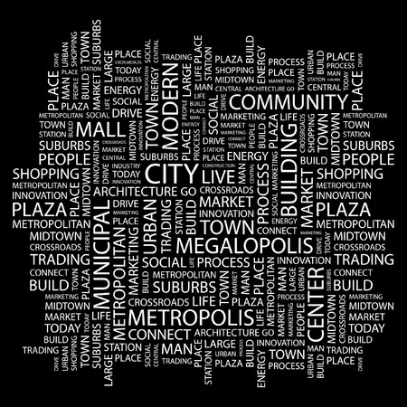 CITY. Word collage on black background.  illustration. Stock Vector - 7339935