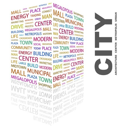 CITY. Word collage on white background.  illustration. Stock Vector - 7340707