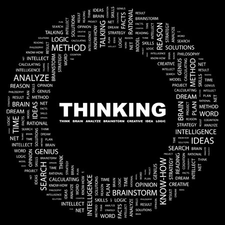 THINKING. Word collage on black background. illustration.    Stock Vector - 7339314