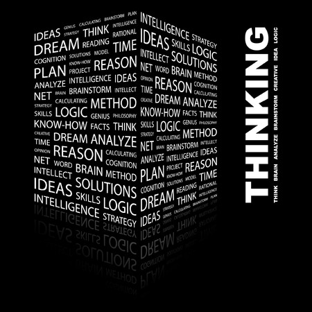 THINKING. Word collage on black background.  illustration. Stock Vector - 7340145