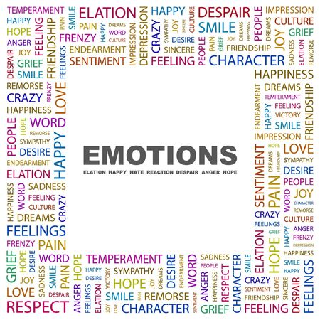 commotion: EMOTIONS. Word collage on white background.  illustration.