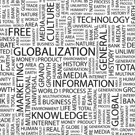 GLOBALIZATION. Seamless   background. Word cloud illustration.   Vector