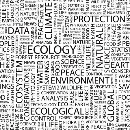 interactions: ECOLOGIE. Naadloze patroon met woord wolk.  Stock Illustratie