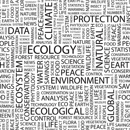 phytology: ECOLOGY. Seamless   pattern with word cloud.   Illustration