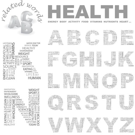 HEALTH.   letter collection. Word cloud illustration.   Vector