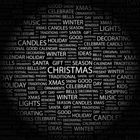CHRISTMAS. Word collage on black background. illustration.    Vector